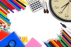 Watch and other school tools Stock Image