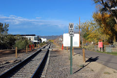 Watch out for Trains. The Santa Fe Railrunner is a regular site on these tracks Royalty Free Stock Image