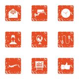 Watch over icons set, grunge style. Watch over icons set. Grunge set of 9 watch over vector icons for web isolated on white background Stock Photos
