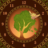Watch of owl on oak Royalty Free Stock Photo