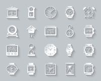 Watch simple paper cut icons vector set royalty free illustration