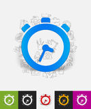 Watch paper sticker with hand drawn elements Stock Photo