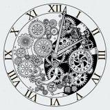 Watch parts. Clock mechanism with cogwheels. Vector illustrations. Gear of clock with cogwheel mechanism Stock Photo