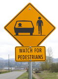 Watch for Pedestrians Signage Stock Photo