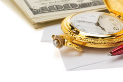 Watch and pen at envelope Royalty Free Stock Image