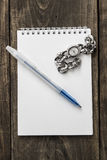 Watch And Pen On The Top Of The Notebook Stock Photography
