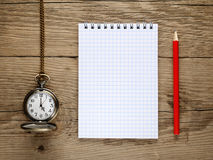 Watch, pencil and notebook Royalty Free Stock Images