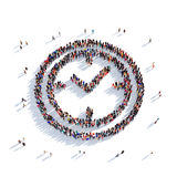 Watch people 3d. Large and creative group of people gathered together in the form of a watch. 3D illustration,  against a white background. 3D-rendering Royalty Free Stock Photo