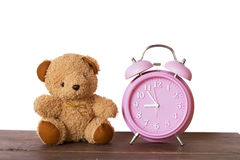 Watch Pink, and Cute teddy bear,isolated on white background. Royalty Free Stock Photo