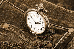 Watch in pocket of jeans Royalty Free Stock Images