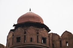 Watch point on the perimeter wall. Of Red Fort. The watch-point has a dome like structure Royalty Free Stock Image