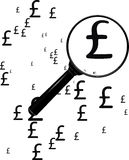 Watch_the_pounds. A magnifying glass looking at pound signs Stock Images