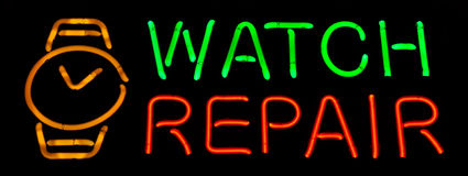Watch Repair Neon Sign Royalty Free Stock Images