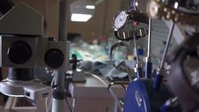 Watch repair shop equipment pan video stock video footage