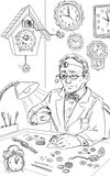 Watch repairer. Black and white illustration of the watch repairer Royalty Free Stock Photos
