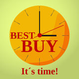 Watch rest best buy flat. Flat shadowed red and orange clock with text best buy. Vector illustration Royalty Free Stock Image