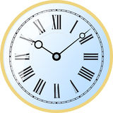Watch roman numeral. Elegant roman numeral blue clock with large digits on white background Stock Photo
