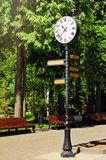 Watch on the pole in a park. Watch with round white dial and Roman numerals on a black pole in the park in summer sunshine Stock Photography
