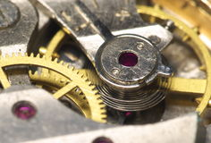 Watchs spring. Watch mechanism inside. Spring close-up Stock Image