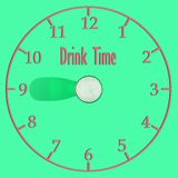 Watch from the shadow of a glass of beer, an unusual concept to drink time stock illustration