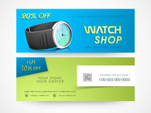 Watch shop web header or banner design. Royalty Free Stock Photography