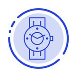 Watch, Smart Watch, Time, Phone, Android Blue Dotted Line Line Icon vector illustration