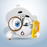 Watch smiley searches among the documents. Character Watches set Stock Photos