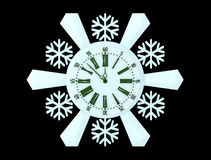 Watch. Snowflake on a stand-alone white background Stock Images