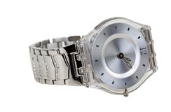 Watch with a steel bracelet Royalty Free Stock Photography