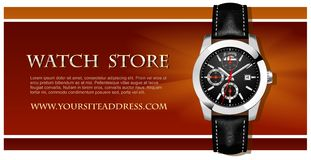 Watch Store Card. Vector. Classic Analog Men's Wrist Watch on the picture Royalty Free Stock Image