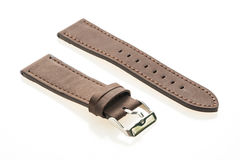 Watch strap leather. Isolated on white background stock photography