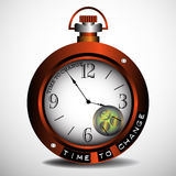 Time to change. Watch with the text time to change written on its screen vector illustration