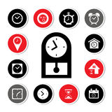 Watch and time icons set Royalty Free Stock Photos