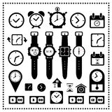 Watch and time icons set Stock Photo
