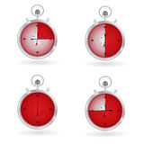Watch timer. Shows 15,30, 45 and 60 minutes stock illustration
