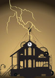 Watch Tower. With Lightning. . Raster and Vector Stock Illustration