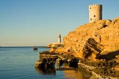 Watch tower. In Sur in Oman on the Arabian peninsula stock photo