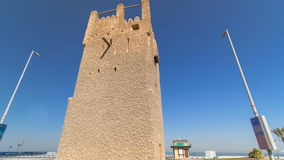 Watch tower of Ajman timelapse hyperlapse. United Arab Emirates stock video