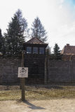Watch tower in Auschwitz concentration camp Stock Photo