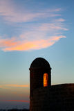 Watch tower of Bahrain fort in dusk Royalty Free Stock Photos