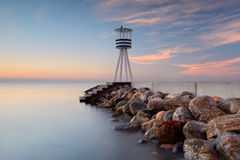 Watch tower at the beach. Early morning Royalty Free Stock Photo