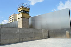 Watch Tower at Berlin Wall Memorial. Germany communism communist guard shooter 1989 east west barrier gray death sniper escape stock photography