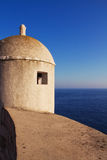Watch tower on corner of ancient town wall in Dubrovnik Stock Photos