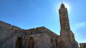 Watch tower in the Tower of David - Old Jerusalem stock images
