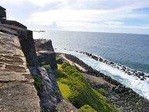 Watch tower in El Morro castle at old San Juan, Puerto Rico. Summer day stock photography