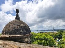 Watch tower in El Morro castle at old San Juan, Puerto Rico. Summer day royalty free stock photos