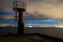 A watch tower at the end of a pier. stock images