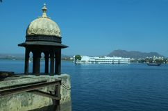 Watch tower of a lake palace Royalty Free Stock Photo