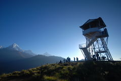 Watch tower in the mountains in Nepal Stock Photo