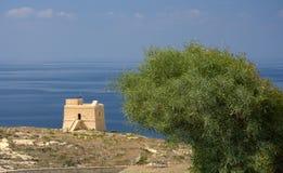 Watch Tower And Sea, Malta. A watch tower near Golden Bay, Malta Stock Photos